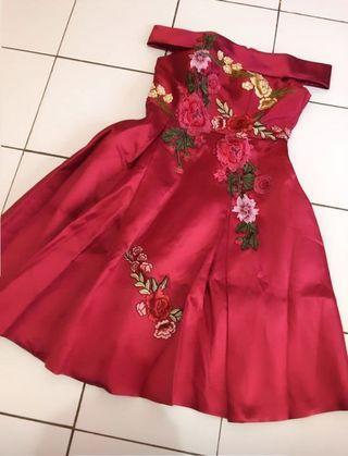 Flower Red Dress