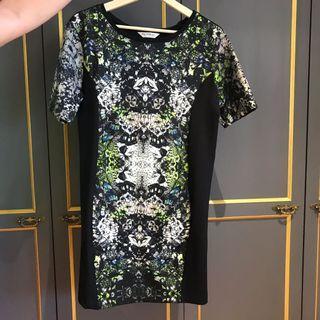 Miss Selfridge black based dress with mosaic prints
