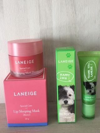 $20 MAILED!! Set of 2!! Laneige Lip Sleeping Mask Berry 20gr + Laneige Lip Glowy Balm Pear 10g