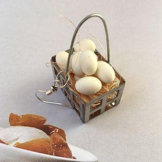 🚚 Unique Egg Basket Earrings