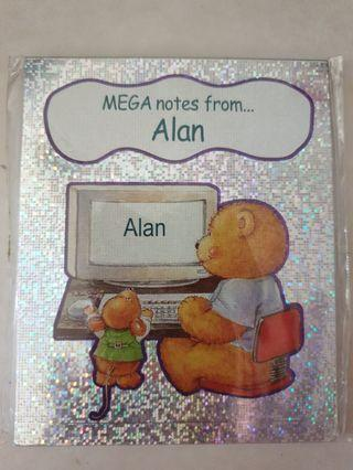 🚚 Personalised Note Pad for person with name Alan