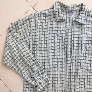 Vintage Retro Zipper Checkered Long Sleeve Shirt