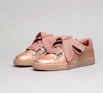 🚚 Metallic Pink Puma Basket Trainers