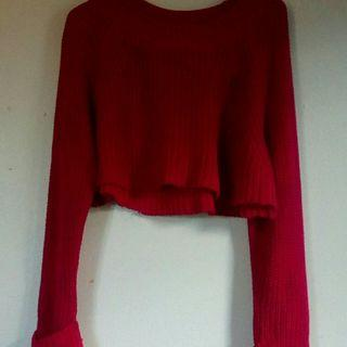 Magenta pink knit crop jumper xs