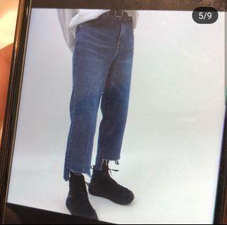 韓國 寬版牛仔褲