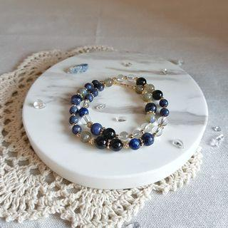 2 rounds crystal bracelet with Blue Sapphire, Kyanite, Labradorite, Clear Quartz and Tourmaline