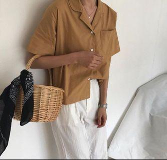 brown button up blouse
