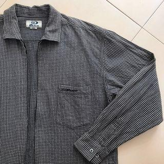 Vintage Retro Zipper Checkered Dark Grey Long Sleeve Shirt