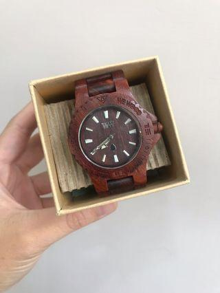 Wewood date brown watch義大利木頭手錶