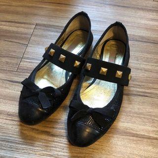 Iki2 黑色蝴蝶結卯釘飾帶芭蕾舞鞋 平底鞋  娃娃鞋