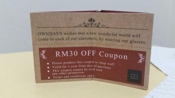 #MGAG101 OWNDAYS eyewear RM30 off coupon