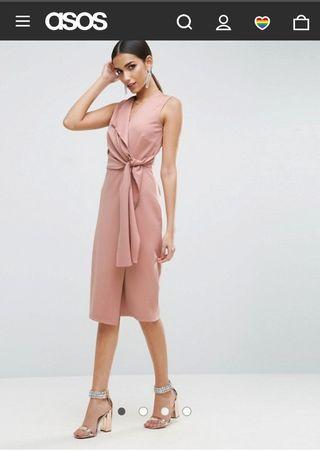 ASOS Wrap Front Midi Pencil Dress with Tie Detail - Nude