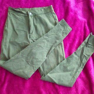 Kahki green hi waist skinny leg trousers size 8