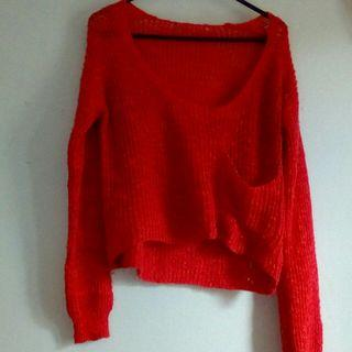 Coral/red crop knit xs