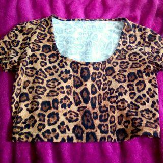 Leopard crop top xs