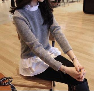 2 in 1 Knit and lace top