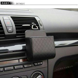 🚚 全新黑色車用手機袋 出風口置物收納盒 可裝手機.零錢 懸掛式 汽車百貨用品菱格紋皮革設計