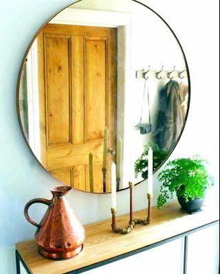80cm Round Mirror Brass Gold