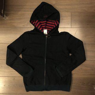 Xgirl Striped Lining Zip Up Hoodie Jacket 黑色外套