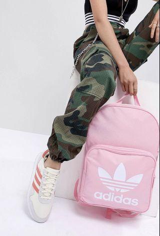 #Fathersday35. ADIDAS. AWESOMELY PRETTY PINK BACKPACK. PINK BAG. ADIDAS Original Large Trefoil Logo Backpack in PINK. INNER LAPTOP SLEEVE. Unisex Backpack. AUTHENTIC
