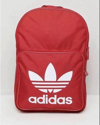 #Fathersday35. ADIDAS BACKPACK. RED BAG. ADIDAS Original Large Trefoil Logo Backpack in Red. INNER LAPTOP SLEEVE. Unisex Backpack. AUTHENTIC