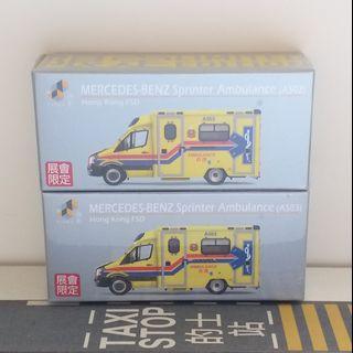 全新Tiny展會限定黃色消防處救護車仔模型A502 A503 非Tomica
