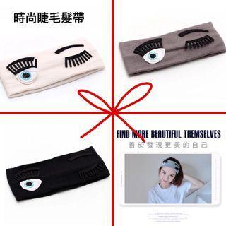 🚚 韓風手工布藝  時尚可愛眨眼睛睫毛髮帶