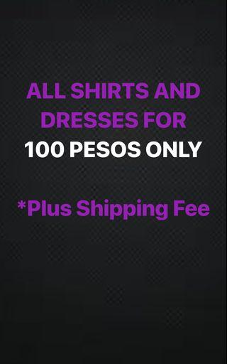 All Dresses Tops Blouses Shirts for 100 Pesos Only