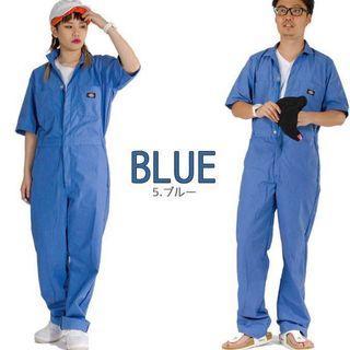 Dickies Short Sleeve Coveralls Workwear in Medium Blue