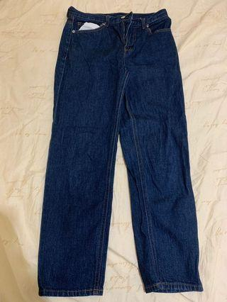 🚚 GU牛仔深藍窄管褲