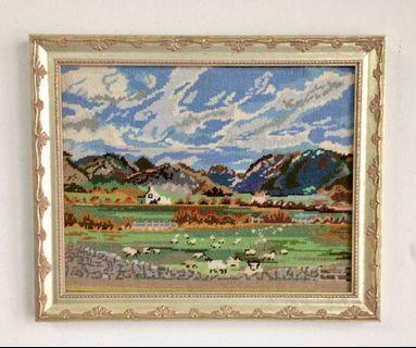 """Vintage Cross Stitch Landscape 16""""x 13"""" UK"""