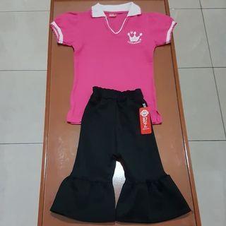 Setelan Baju Celana Scuba Anak Perempuan LITTLE COOL size 1-2 tahun