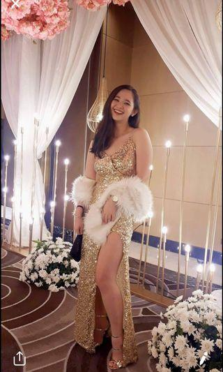 GOLD GOWN WITH FUR Gatsby Style Pageant for RENT