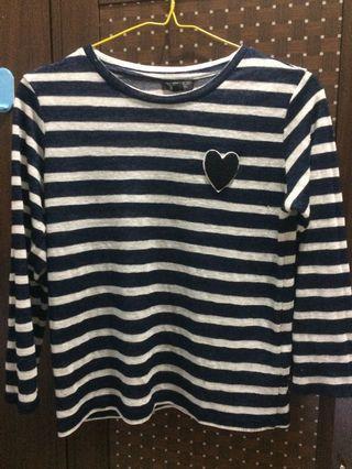 Topshop stripes love navy blue top