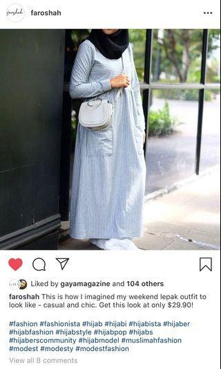 Preloved Faroshah Grey Stripes Dress
