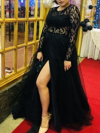Black Sytlish Lacey Gown with Slit Gradball Debut Party