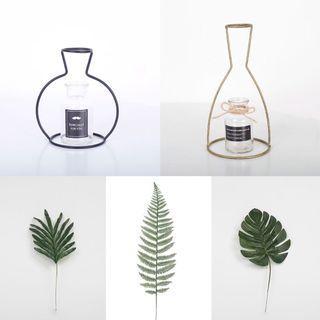 🚚 北歐風家居裝飾鐵藝玻璃花瓶+仿真植物擺件五件組
