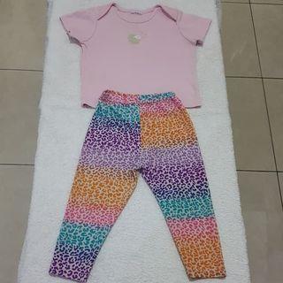 Setelan Baju Celana Legging Anak Perempuan size 1-2 tahun