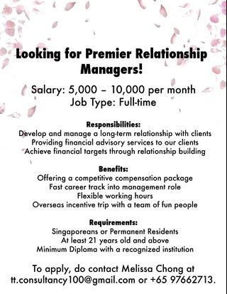 Hiring Premier Relationship Managers