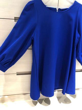 🚚 寶藍雪紡傘狀上衣