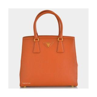 Prada B2490M - Saffiano Leather Tote Bag in Papaya Colour