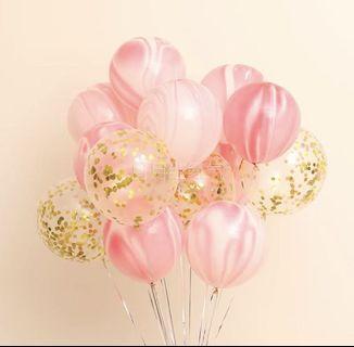 結婚用品 乳膠氣球 pre wedding big day 外影 氣球 雲紋雲朵瑪瑙紋 透明金圓片