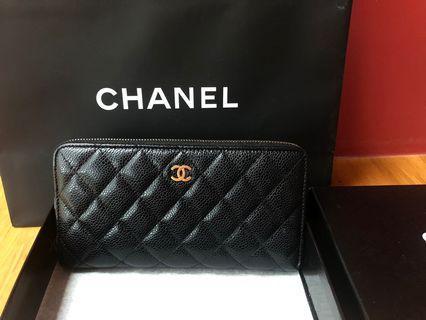 Chanel 荔枝皮黑金長夾