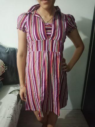 Dress garis pelangi