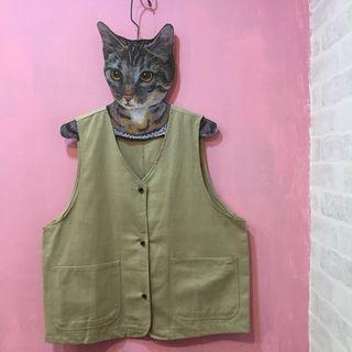 [彩色櫥窗]日系工裝封口袋搭配造型背心(2色)