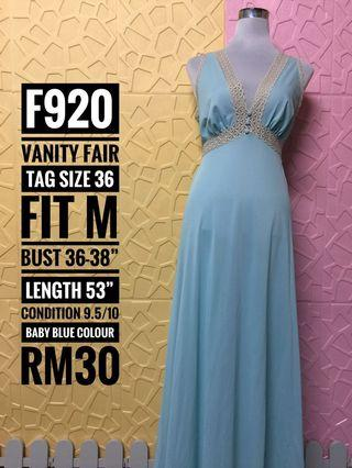 Vanity Fair Vintage Long Nightgown in Babyblue colours