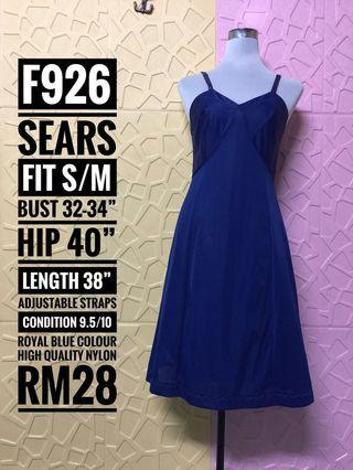 Vintage Sears Nylon Slip Dress in Royal Blue colour