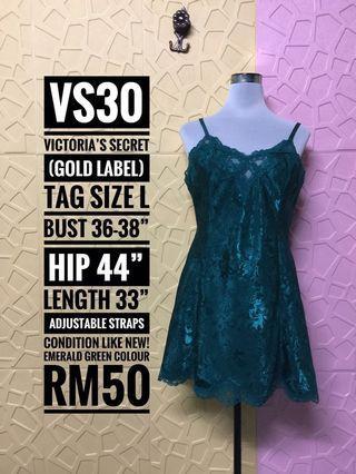 Victoria's Secret Vintage Gold Label Chemise Slip Silky Sheer Nighties Dress Emerald Green