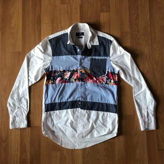 Men's smart casual flora long sleeve button shirt
