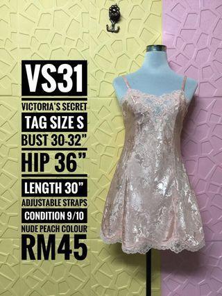 Victoria's Secret Vintage Gold Label Silky Sheer Nude Peach Chemise MADE IN SRI LANKA